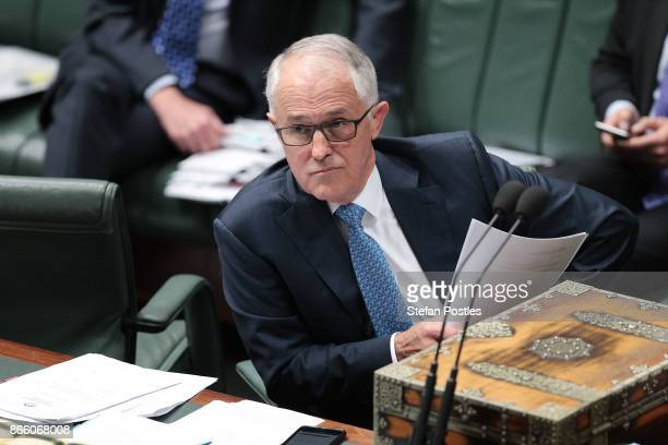 Prime Minister Malcolm Turnbull during House of Representatives question time at Parliament House on October 25 2017 in Canberra Australia The Sydney...