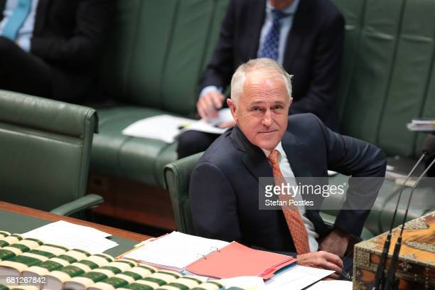 Prime Minister Malcolm Turnbull during question time at Parliament House on May 10 2017 in Canberra Australia The Turnbull Government's second budget...