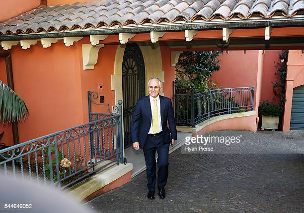 Prime Minister Malcolm Turnbull leaves his home in Point Piper on July 3 2016 in Sydney Australia The prospect of a hung parliament looms as counting...