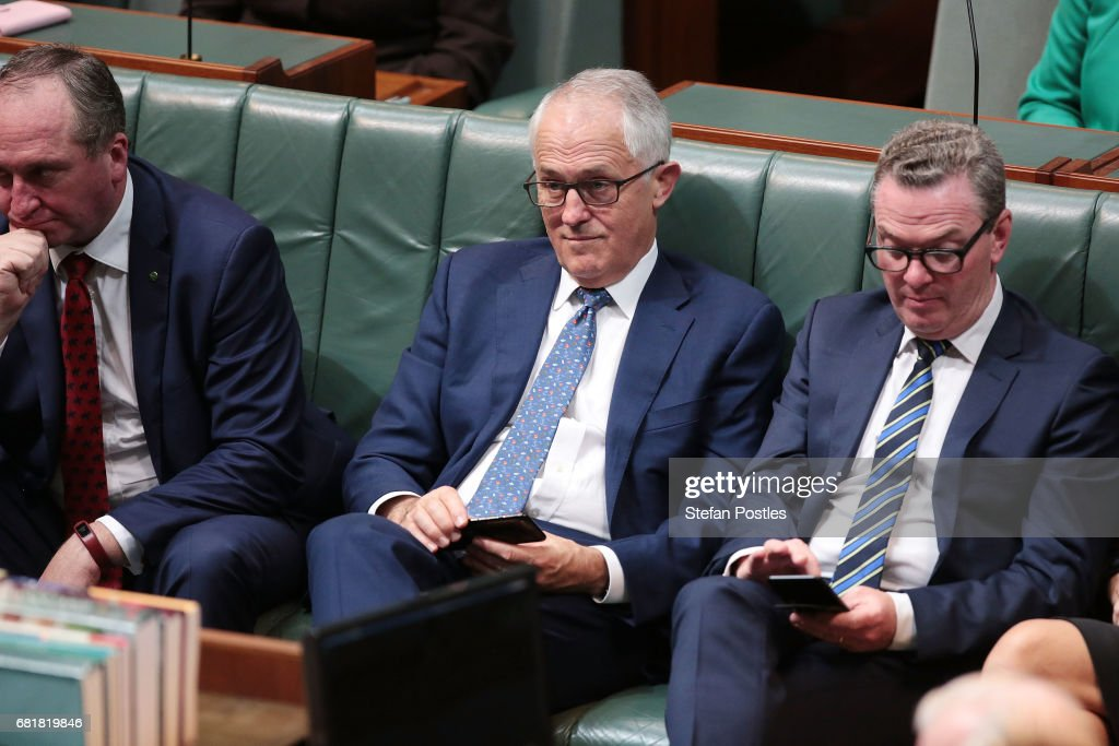 Prime Minister Malcolm Turnbull listens to Opposition Leader Bill Shorten deliver his budget reply address in the House of Representatives at Parliament House on May 11, 2017 in Canberra, Australia. The Turnbull Government's second budget has delivered additional funds to education, a plan to assist first home buyers, along with a crackdown on welfare.