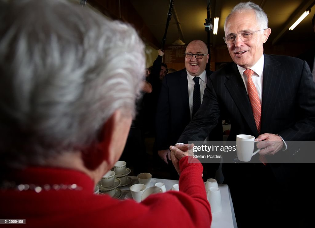 Prime Minister Malcolm Turnbull meets with members of the public at the Devonport Golf Club on June 24, 2016 in Devonport, Australia. The Coalition Government has committed to invest $3.5 million to Devonport for a new sporting facility and community function centre, should Malcolm Turnbull and the Liberal Party be relected on July 2.