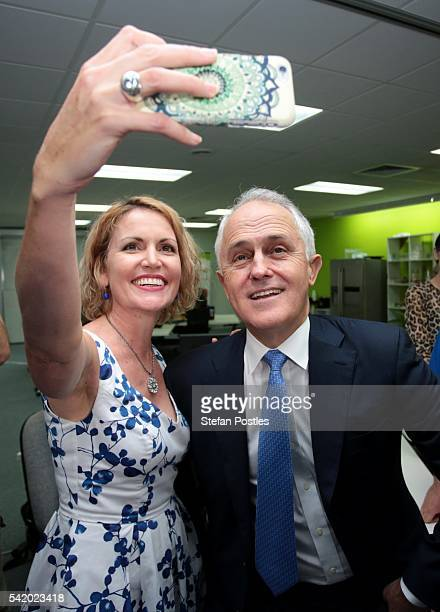 Prime Minister Malcolm Turnbull poses for a selfie during a tour of the innovation hub The SPACE on June 22 2016 in Darwin Australia The Coalition...
