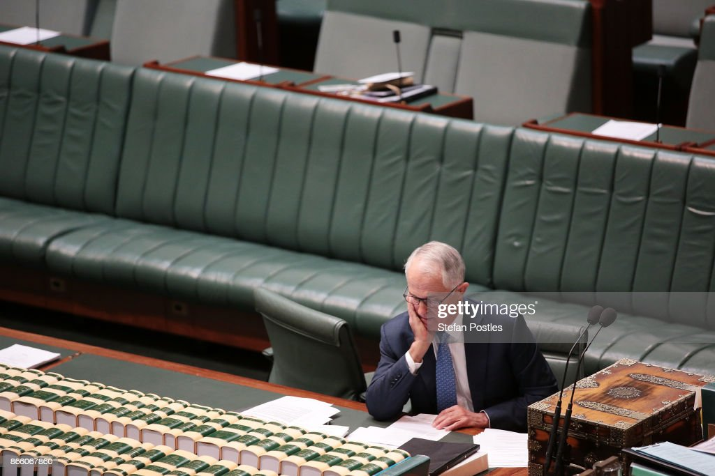 Prime Minister Malcolm Turnbull prior to House of Representatives question time at Parliament House on October 25, 2017 in Canberra, Australia. The Sydney and Melbourne offices of the Australian Workers Union' were raided by federal police yesterday as part of an investigation into donations made more than 10 years ago to the lobby group GetUp and to Labor candidates. Labor leader Bill Shorten has labelled the move as a smear campaign.