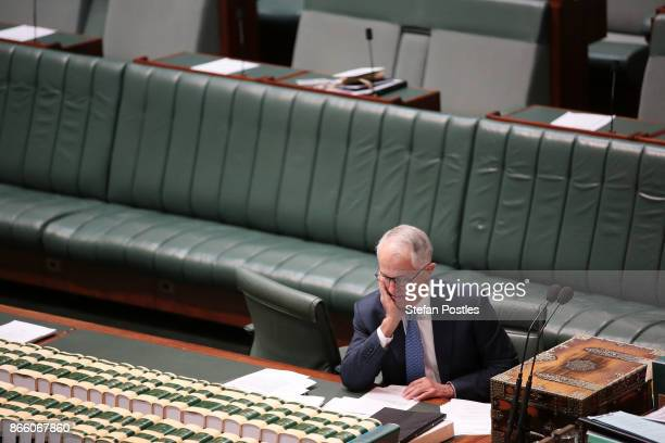 Prime Minister Malcolm Turnbull prior to House of Representatives question time at Parliament House on October 25 2017 in Canberra Australia The...