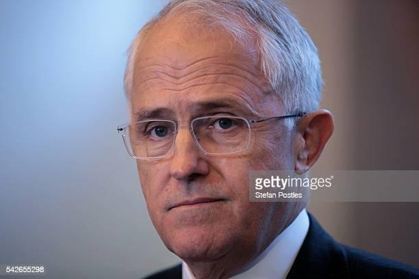 Prime Minister Malcolm Turnbull speaks at a doorstop during a visit to Design Centre Tasmania on June 24 2016 in Launceston Australia Prime Minister...