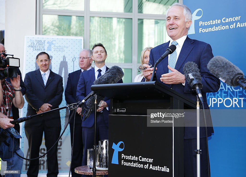 Prime Minister Malcolm Turnbull speaks at the Prostate Cancer Foundation of Australia's Big Aussie BBQ at Parliament House on September 16, 2015 in Canberra, Australia. Malcolm Turnbull was sworn in as Prime Minister of Australia on Tuesday, replacing Tony Abbott following a leadership ballot on Monday night.