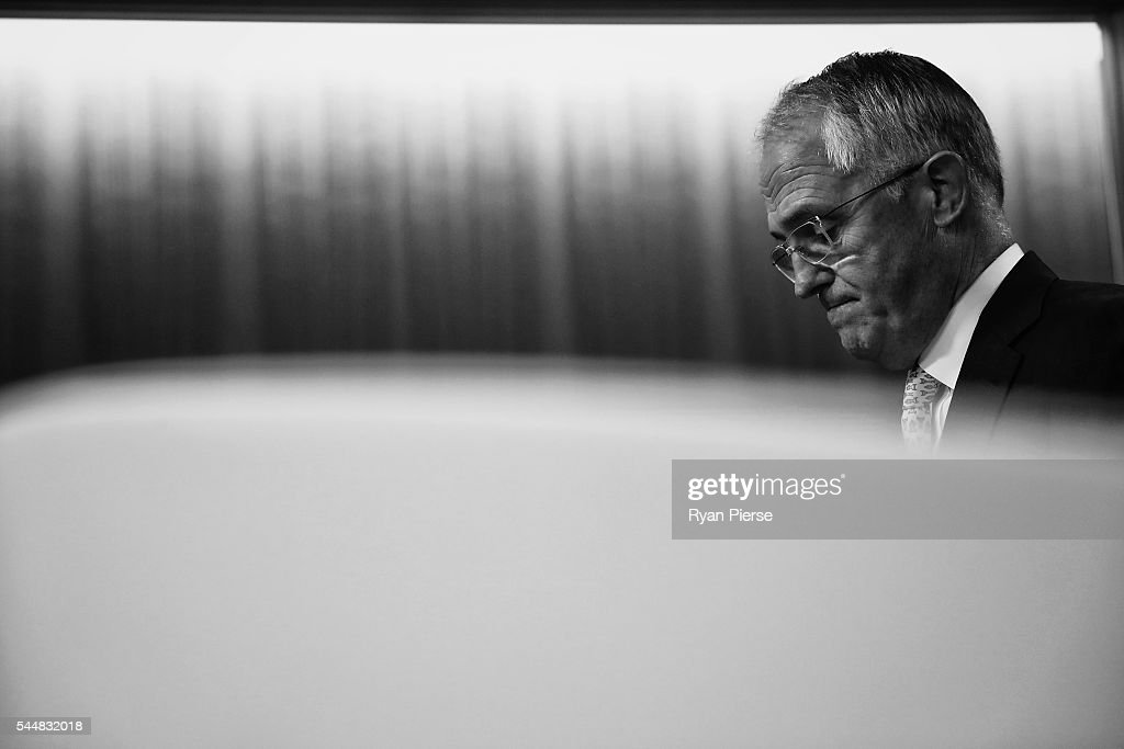 This image was processed using digital filters) Prime Minister Malcolm Turnbull speaks during a press conference at the Commonwealth Parliament Offices on July 3, 2016 in Sydney, Australia. The prospect of a hung parliament looms as counting continues after election night on Saturday, with results too close with neither the Liberals nor Labor able to secure an absolute majority victory.