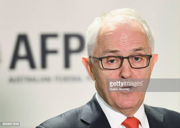 Prime Minister Malcolm Turnbull speaks to the media at AFP Headquarters on June 26 2017 in Melbourne Australia Prime Minister Malcolm Turnbull...