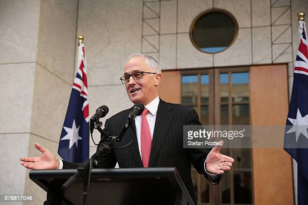 Prime Minister Malcolm Turnbull speaks to the media at Parliament House on July 18 2016 in Canberra Australia Prime Minister Malcolm Turnbull...