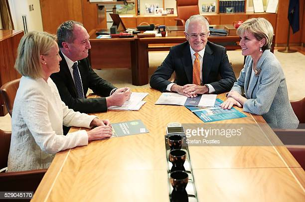 Prime Minister Malcolm Turnbull speaks with Deputy Prime Minister Barnaby Joyce Deputy Nationals Leader Fiona Nash and Minister for Foreign Affairs...