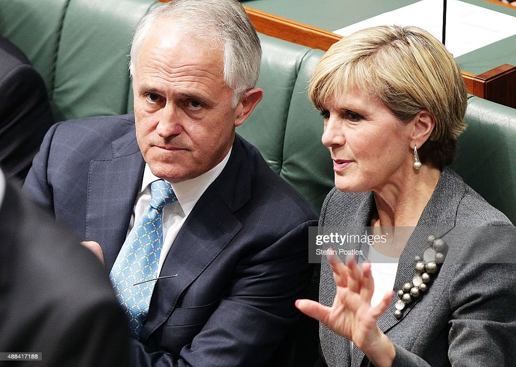 Prime Minister Malcolm Turnbull speaks with Minister for Foreign Affairs Julie Bishop during House of Representatives question time at Parliament House on September 16, 2015 in Canberra, Australia. Malcolm Turnbull was sworn in as Prime Minister of Australia on Tuesday, replacing Tony Abbott following a leadership ballot on Monday night.