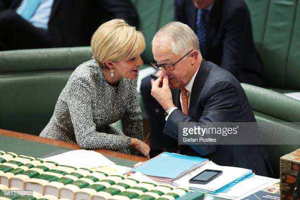 Prime Minister Malcolm Turnbull speaks with Minister for Foreign Affairs Julie Bishop during question time at Parliament House on May 10 2017 in...