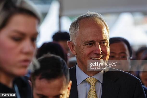 Prime Minister Malcom Turnbull arrives at the Chinese New Year Lantern Festival at Tumbalong Park on February 12 2016 in Sydney Australia The...