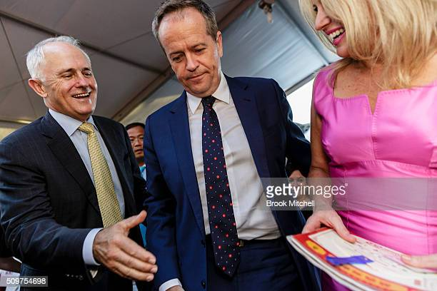 Prime Minister Malcom Turnbull Opposition leader Bill Shorten and his wife Chloe at the Chinese New Year Lantern Festival at Tumbalong Park on...