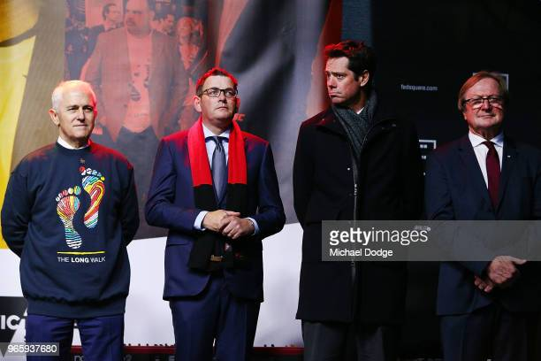 Prime Minister Malcom Turnbull stands with Victorian Premier Daniel Andrews AFL CEO Gillon McLachlan and AFL legend Kevin Sheedy during The Long Walk...