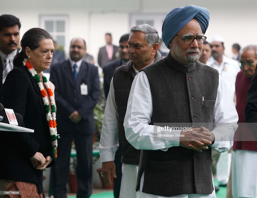 Prime Minister Manmohan Singh along with Congress president Sonia Gandhi after speaking to media person, during the Indian National Congress party's 127th foundation day function at AICC headquarters on December 28, 2012 in New Delhi, India.