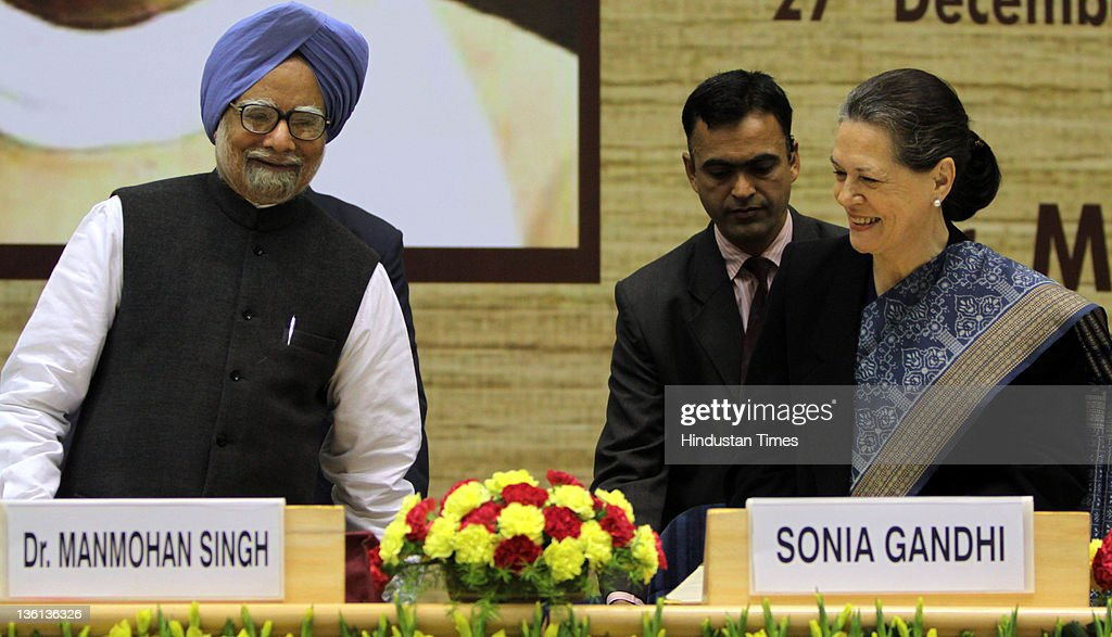 Prime Minister Manmohan Singh (L) and NAC Chairperson Sonia Gandhi attend a function to commemorate the 150th Birth Anniversary of Mahamana Madan Mohan Malaviya at Vigyan Bhawan on December 27, 2011 in New Delhi, India. A National Implementation Committee was formed under the chairmanship of Dr. Karan Singh to oversee the implementation of the various events aimed at promoting the ideals of Madan Mohan Malviya. Pandit Madan Mohan Malviya (1861-1946) was a prominent nationalist leader and served 4 times as the president of Indian National Congress. He also founded the Banaras Hindu University with Anne Besant.