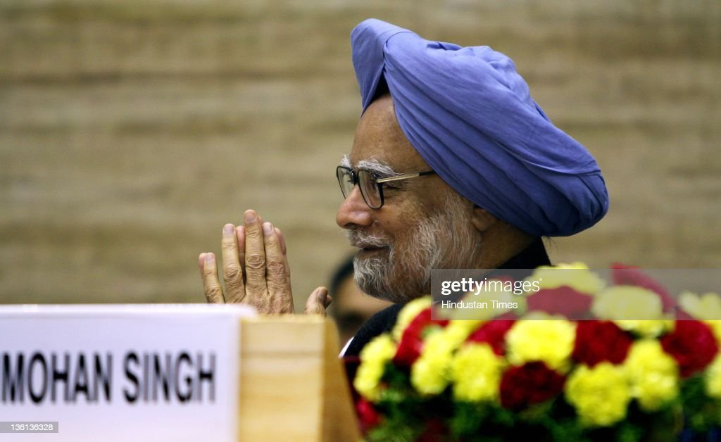 Prime Minister Manmohan Singh attends a function to commemorate 150th birth anniversary of Mahamana Madan Mohan Malaviya at Vigyan Bhawan on December 27, 2011 in New Delhi, India. A National Implementation Committee was formed under the chairmanship of Dr. Karan Singh to oversee the implementation of the various events aimed at promoting the ideals of Madan Mohan Malviya. Pandit Madan Mohan Malviya (1861-1946) was a prominent nationalist leader and served 4 times as the president of Indian National Congress. He also founded the Banaras Hindu University with Anne Besant.