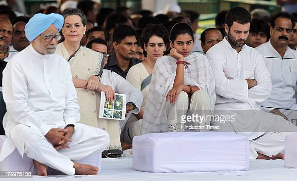 Prime Minister Manmohan Singh Congress leader and Chairperson of the National Advisory Council Sonia Gandhi Robert Vadra Miraya Vadra Priyanka Vadra...
