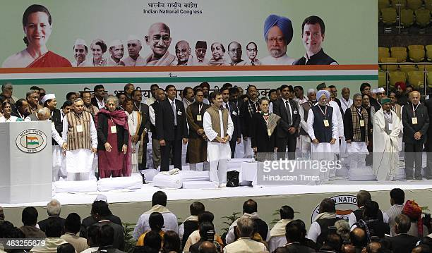 Prime Minister Manmohan Singh Congress President and UPA chairperson Sonia Gandhi and Congress vice president Rahul Gandhi and other leaders during...