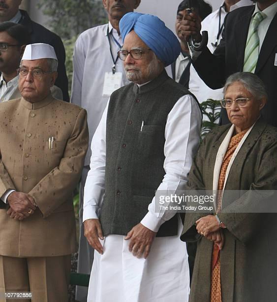 Prime Minister Manmohan Singh finance minister Pranab Mukherjee and Delhi CM Shiela Dikshit attend the AICC Foundation Day at AICC HQ in New Delhi on...
