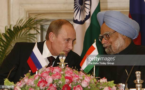 Prime Minister Manmohan Singh meets Chairman of the Government of Russian Federation, Vladimir V Putin at Rashtrapati Bhavan in New Delhi on Friday,...