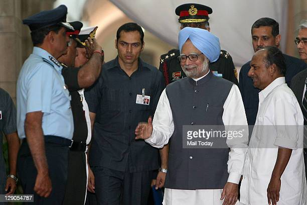 Prime Minister Manmohan Singh meets Chief of the Air Staff Air Chief Marshal NAK Browne Army chief General VK Singh and Navy chief Admiral Nirmal...