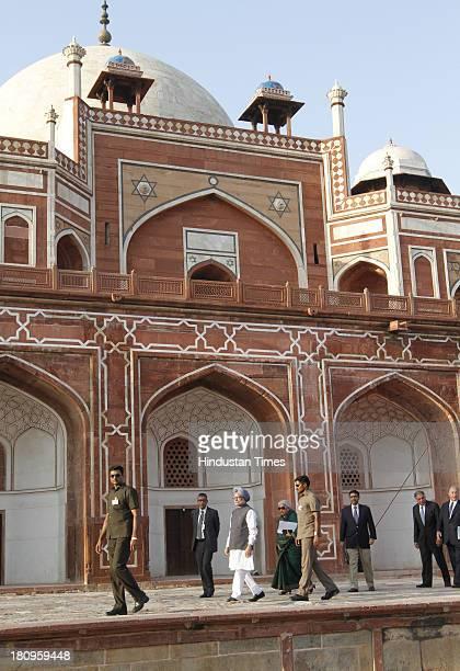 Prime Minister Manmohan Singh Prince Karim Aga Khan IV Ratan Tata and Union Minister for Culture Chandresh Kumari Katoch at a ceremony to mark the...