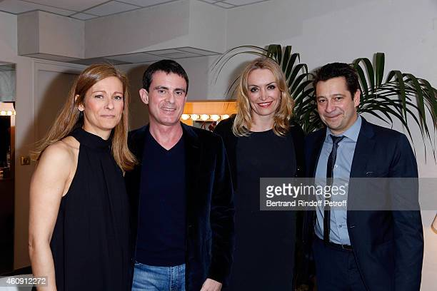 Prime Minister Manuel Valls and his wife Anne Gravoin, Christelle Bardet and Laurent Gerra attend in Backstage the Laurent Gerra Show, at Palais des...