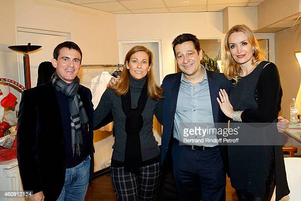 Prime Minister Manuel Valls and his wife Anne Gravoin, Laurent Gerra and Christelle Bardet attend in Backstage the Laurent Gerra Show, at Palais des...