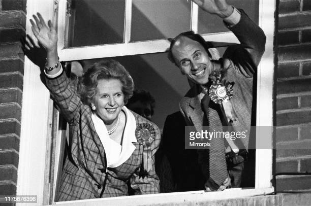 Prime Minister Margaret Thatcher and Conservative Party chairman, Norman Tebbit, celebrate winning a third term in government for the Conservative...