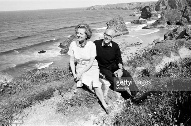 Prime Minister Margaret Thatcher and her husband Denis on holiday at Bedruthan Cornwall 10th August 1981