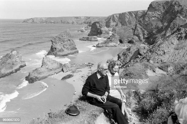 Prime Minister Margaret Thatcher and her husband Denis on holiday in North Cornwall 10th August 1981