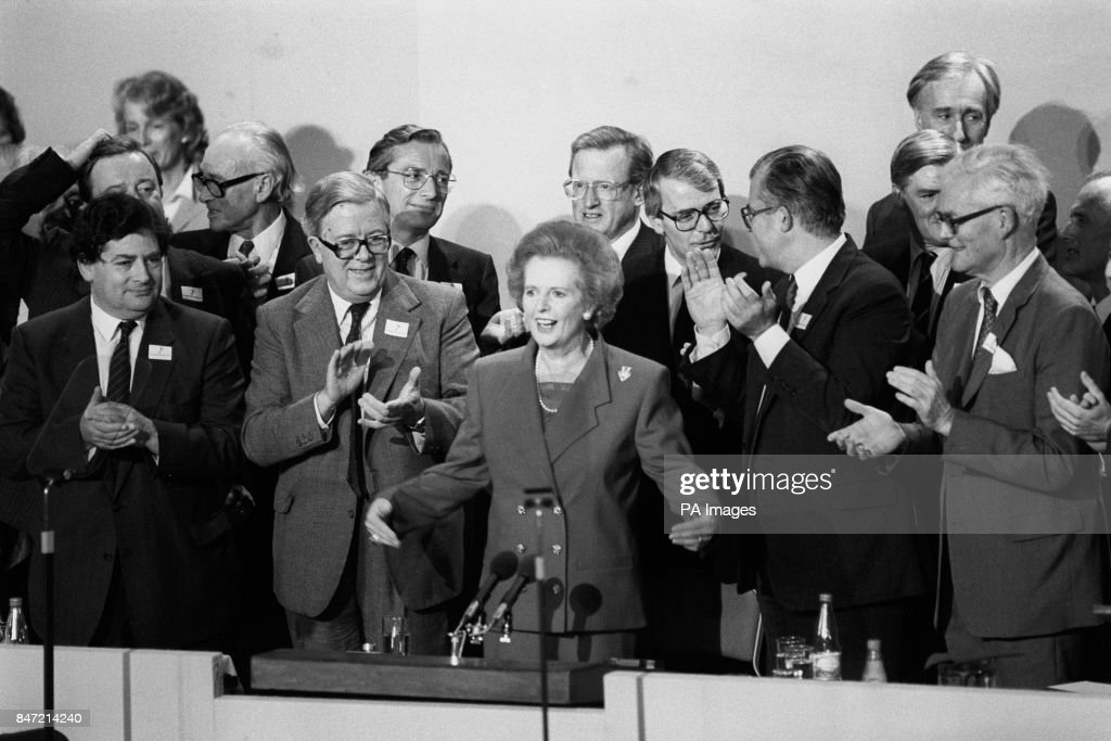 Prime Minister Margaret Thatcher Applauded By Cabinet Colleagues As She Was  Given A Standing Ovation At