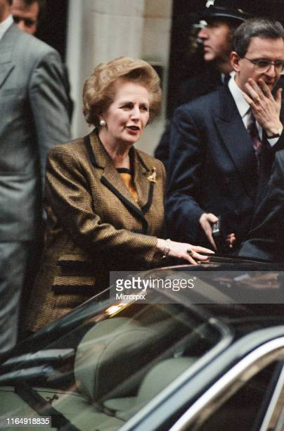 Prime Minister Margaret Thatcher at 10 Downing Street amid the Conservative Party leadership battle 21st November 1990