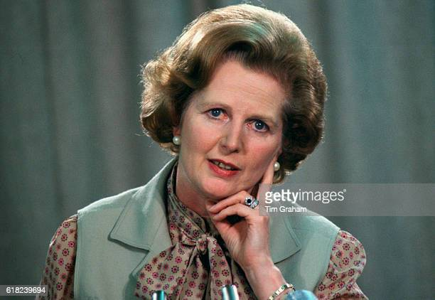 Prime Minister Margaret Thatcher at a political conference in the 1980s London England United Kingdom