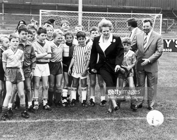 Prime Minister Margaret Thatcher has a kick-around with the football on her visit to Scunthorpe United�s new ground. Margaret Hilda Thatcher studied...