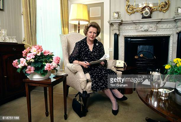 Prime Minister Margaret Thatcher in her drawing room in 10 Downing Street London England