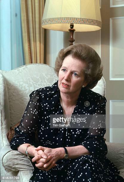 Prime Minister Margaret Thatcher inside 10 Downing Street London England United Kingdom