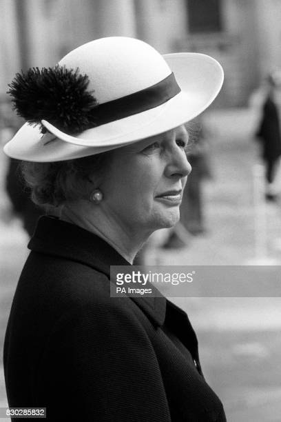 Prime Minister Margaret Thatcher looks pensive as she awaits the arrival of King Taufa'ahau Tupou IV of Tonga at the Foreign and Commonwealth Office...