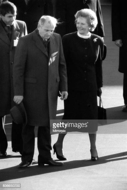 Prime Minister Margaret Thatcher meets Soviet leader President Mikhail Gorbachev at RAF base Brize Norton December 1987
