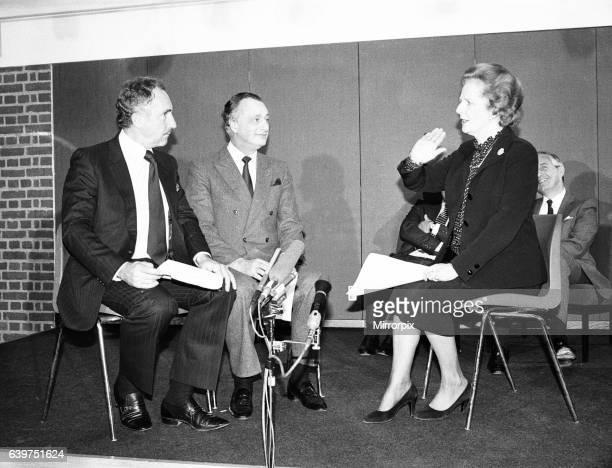 Prime Minister Margaret Thatcher presents the National Vala Award of the 'National Viewers and Listeners Association' to the team of BBC TV Programme...
