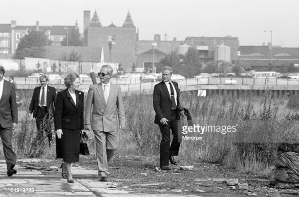 Prime Minister Margaret Thatcher seen here at what remains of the Head Wrightson works in Thornaby Middlesbrough The Prime Minister launched her...