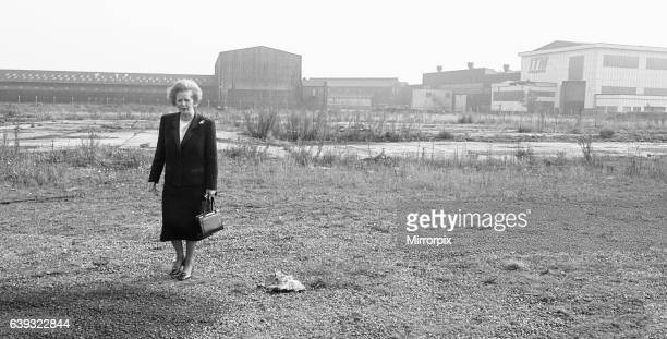 Prime Minister Margaret Thatcher seen here at what remains of the Head Wrightson works in Thornaby, Middlesbrough The Prime Minister launched her...