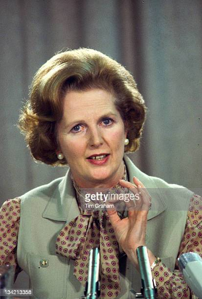 Prime Minister Margaret Thatcher speaks at a political conference during the early 1980s in London England