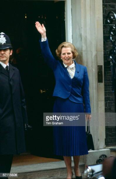 Prime Minister Margaret Thatcher Standing Waving To The Crowds Of Wellwishers Outside 10 Downing Street After Her Election Victory