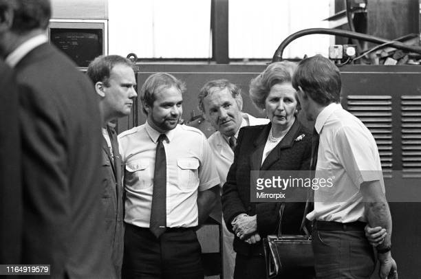 Prime Minister Margaret Thatcher visits Harker and Son at Stockton. She is pictured with employees Terry Blenkinsop and Steve Pearson, 12th September...