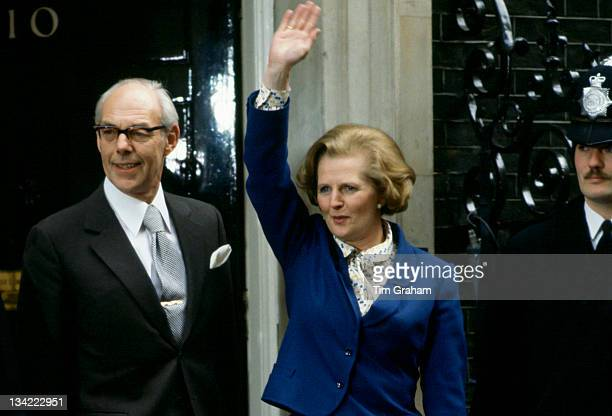 Prime Minister Margaret Thatcher with husband Denis Thatcher waves to wellwishers outside Number 10 Downing Street following her election victory on...