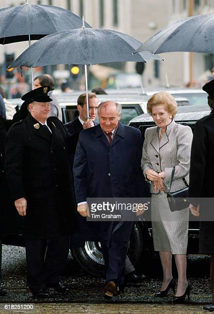 Prime Minister Margaret Thatcher with President Gorbachev of Russia during his visit to Britain