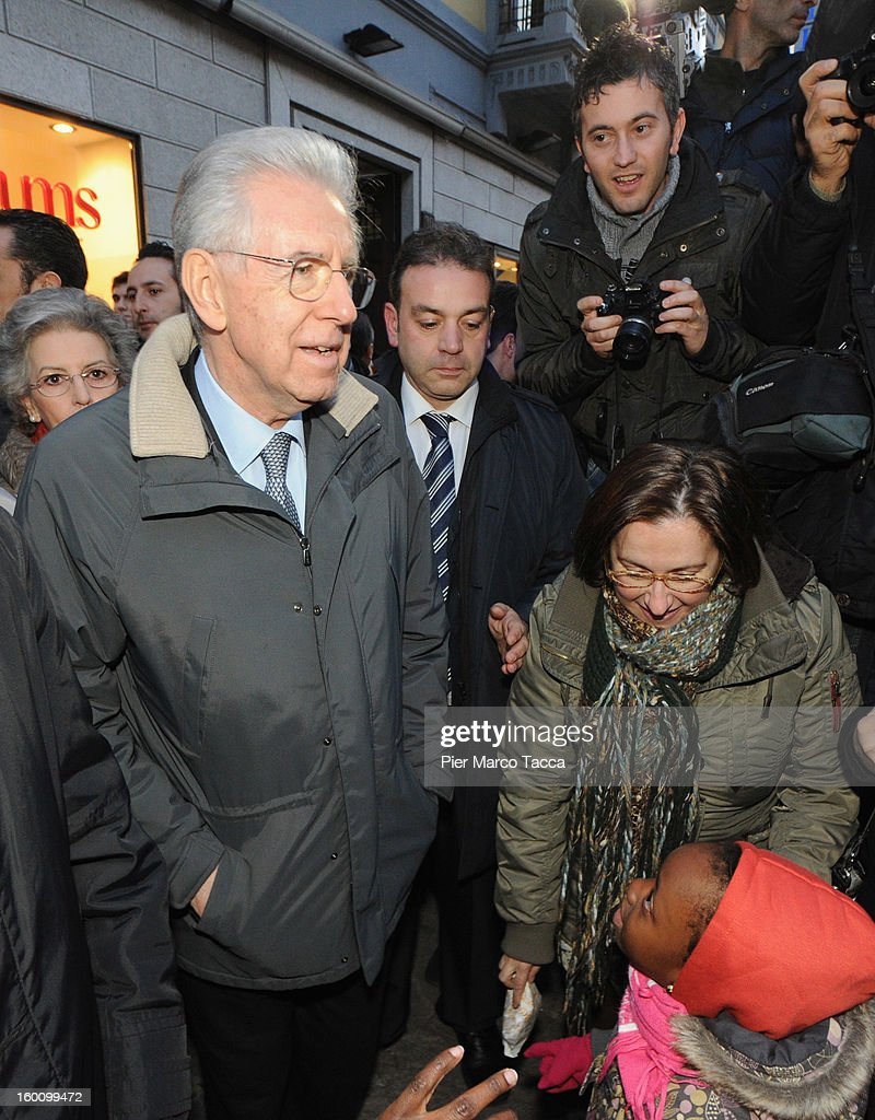 Prime Minister Mario Monti and his wife Elsa Antonioli sighting in Milan on January 26, 2013 in Milan, Italy.